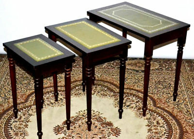 Antique Georgian Style Nest of 3 Leather Top MahoganyCoffee Wine Tables [PL3111]