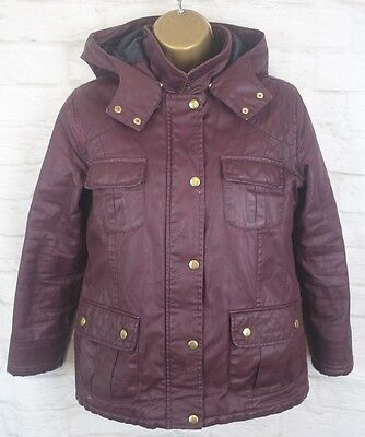 Candy Casuals Burgundy Detachable Hood Winter Coat Size Age 10/11 Years