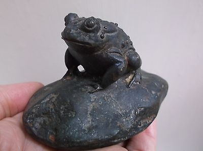Very Rare Antique 19Th Century Japanese Meiji Period Solid Bronze Toad Okimono