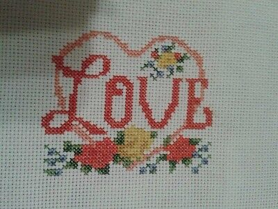 """Finished Completed Cross Stitch """"Love"""""""