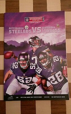 MINNESOTA VIKINGS v PITTSBURGH STEELERS NFL PROGRAMME WEMBLEY STADIUM 2013