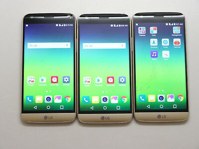 Lot of 3 LG G5 H830 T-Mobile 32GB Gold Smartphones AS-IS GSM