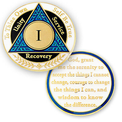 AA coin 1 year, Blue Black White, anniversary recovery alcoholics anonymous