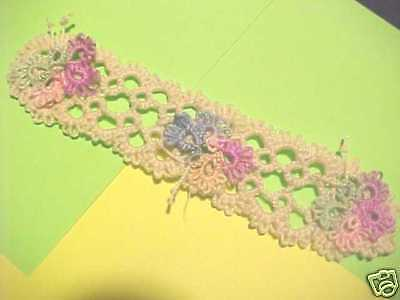 2 Tatted Bookmark Cream 3 Pastel Butterflies Lace Book Gift Dove Country Tatting