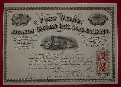 1870 Fort Wayne Jackson & Saginaw RR - stock issued to Moses Taylor