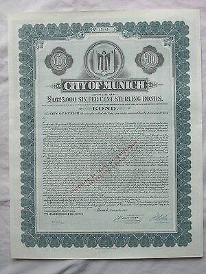 Germany 1953 City of Munich £100 Bond - UNCANCELLED - Waterlow & Sons