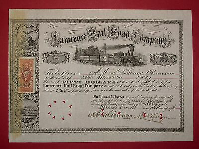 1871 Lawrence Rail Road Company - stock certificate issued to J.F.D.Lanier