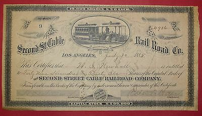 Los Angeles 1885 Second St. Cable Rail Road Co - extremely rare