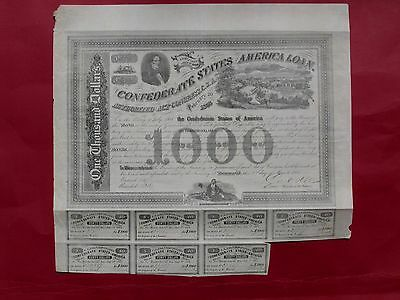 "CSA Confederate 1863 $1000 bond ""View of Richmond"" #29987 s/by Rose"