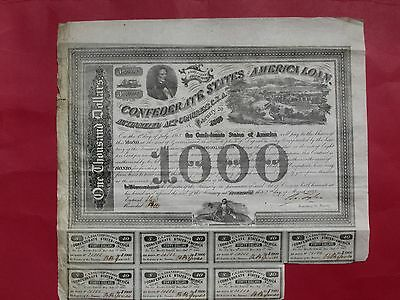 "CSA Confederate 1863 $1000 bond ""View of Richmond"" #20882 s/by Tyler"