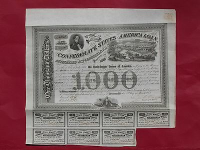 "CSA Confederate 1863 $1000 bond ""View of Richmond"" #49106 s/by Rose"