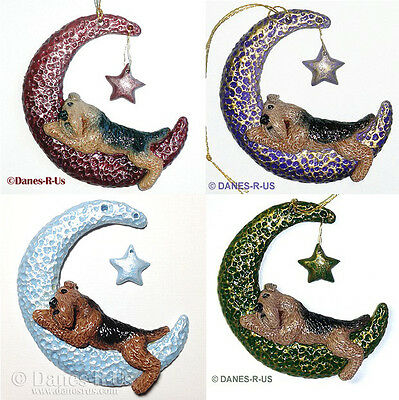 Airedale Terrier Twinkle Moon Star Ornament CUSTOM for Christmas or Everyday