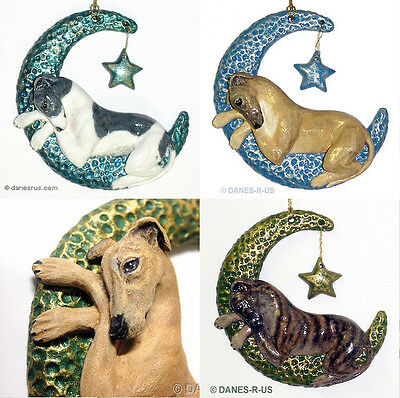 Greyhound Twinkle Moon Star Ornament CUSTOM for Christmas or Everyday Whippet
