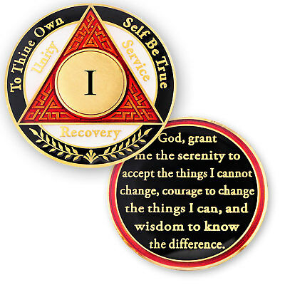 AA coin 1 year, Red White Black, anniversary recovery alcoholics anonymous