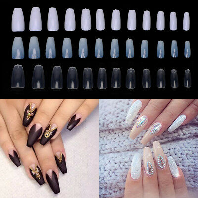 600 Ballerina Coffin Art Tip Full Cover False Nail Long Shape Naural Clear White