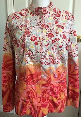 CHICOS Womens Zip JACKET Multi Color Floral Orange Pink Red Size 2 (L/12)