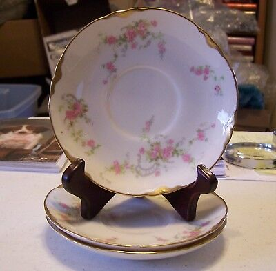 Warwick Saucers - Pink Flowers - Set of 3