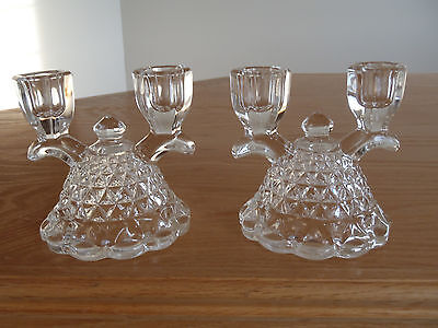 Imperial Glass Double Candle Holders - Pair
