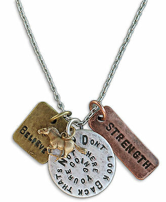 Inspirational Don't Look Back That's Not Where You're Going Horse Charm Necklace