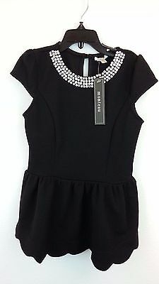 NEW Monteau Girl Holiday Dress Rhinestone Black Top Tunic Tunika Shirt Size 8 S
