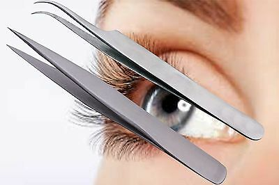 Tweezers Swiss Quality Straight Curved For Individual Eyelash Extensions SS