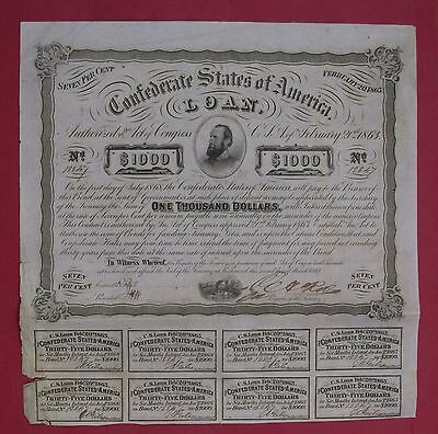 CSA Confederate 1863 $1000 bond #12247 Stonewall Jackson s/by Rose