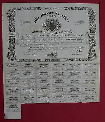 CSA Confederate 1862 $500 bond no.737 Ball 127 s/by Tyler with 31 coupons