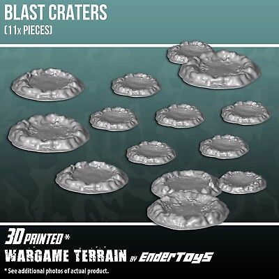 Blast Craters, Terrain Scenery for Tabletop 28mm Miniatures Wargame, 3D Printed