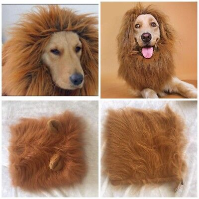 Large Halloween Pet Clothes Fancy Dress Up Costume Cat Lion Mane Wig for Dogs