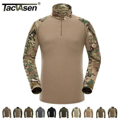 TACVASEN Mens Army Military Shirts Camo Tactical Combat Shirt Pullover T-Shirt
