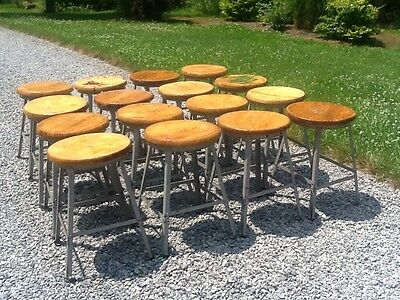 "16 Same Industrial Vtg 20"" Wood / Metal Stools - 14"" Round Wood Seats -Very Good"