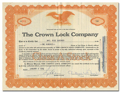 Crown Lock Company Stock Certificate