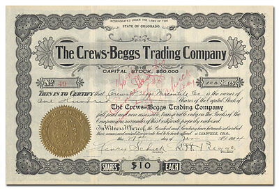 Crews-Beggs Trading Company Stock Certificate (Leadville, Colorado)
