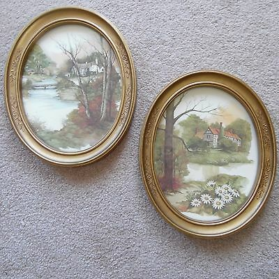 "HOMCO Home Interiors Set 2 Oval Tudor House Floral Frame 11"" X 9"" Each Pictures"