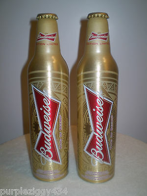 EMPTY ~Pair of Budweiser 2014 FIFA World Cup Aluminum Beer Bottles~Rise As One