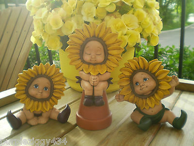 Trio of the Most Cutest  Sunflower Pixie Kids Figurines ~ Home or Garden