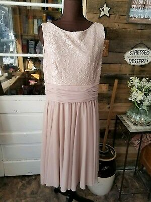 womens formal style dress.  Beige color with embellishments that sparkle.  Sz 16