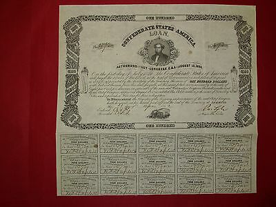 CSA Confederate 1862 $100 bond no.472 Ball-72 S.R.Mallory - only 800 issued