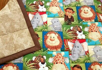"New handmade,""Jungle babies"",34x43in, boys, cotton baby/toddler quilted blanket"