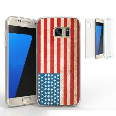 For Galaxy S7 Edge Full Body Front Back Screen Protector Case American Flag312