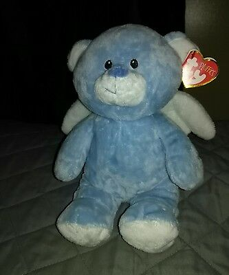 TY Pluffies Little Angel Blue Bear for baby - Mint with tags