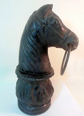 Antique HORSE HEAD Hitching Post Finial CAST IRON Americana Western Folk Art