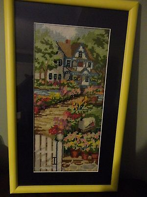 Counted Cross Stitch Embroidered House Garden Wall Hanging Frame Ready & Framed