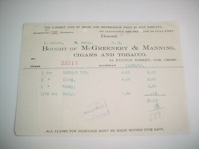 Vintage Business Receipt Letterhead #72- McGreenery & Manning Cigars and Tobacco
