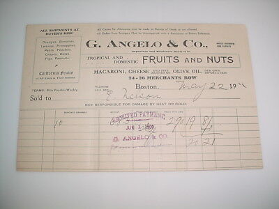 Vintage Business Receipt Letterhead #66-G.Angelo & Co. Fruits & Nuts May 22 190?