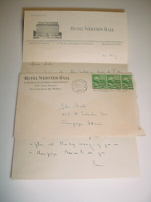 Vintage Business Letterhead & Envelope #86-Hotel Webster-Hall Pittsburgh PA 1949