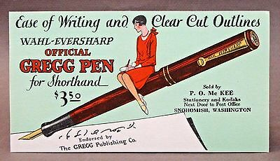 WAHL-EVERSHARP GREGG SHORHAND PENS advertising ink blotter SNOHOMISH WA unused *