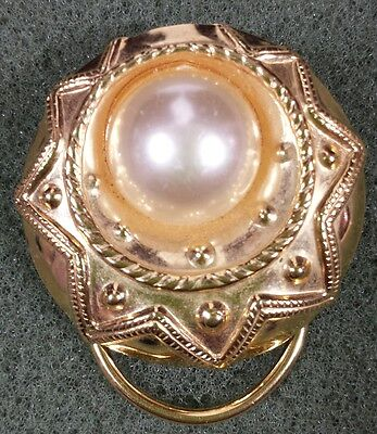 Vtg Jewelry Brooch Scarf Clip Gold Tone Metal Faux Pearl Beautiful Design #2959