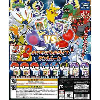 Genuine Pokemon Sun and Moon Dice Gashapons 2017 Full Complete Set of 8 Pieces