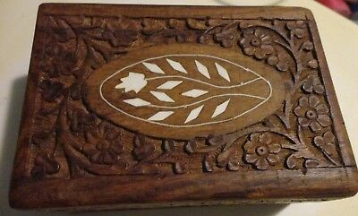 Vintage Oriental Asian Walnut Wood Hand Carved Blue Inlay Jewelry Box India